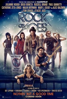 ROCK OF AGES International Movie Poster. Directed by Adam Shankman and starred by Tom Cruise, Russell Brand, Paul Giamatti, Malin Akermin, Alec Baldwin and Catherine Zeta-Jones. Released in USA & UK: 15 June 2012. Released in Spain 3 August 2012. - http://www.todomusicales.com