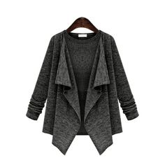 Long Sleeve Drape Front Coat ($20) ❤ liked on Polyvore featuring outerwear, coats, long sleeve coat and drape front coat