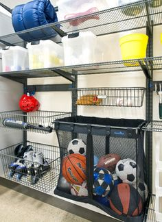 A great idea for the garage is to have wire shelves and containers. They're easy to install and use and they may not look very fancy but it's ok for the garage. Also, the wire crates and containers let you see what's stored inside. Garage Organization Tips, Diy Garage Storage, Storage Hacks, Shed Storage, Storage Ideas, Ball Storage, Smart Storage, Storage Shelving, Open Shelving