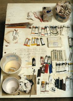 Cy Twombly , Untitled (Say Goodbye Catullus, to the Shores of Asia Minor), The Menil Collection . Cy Twombly 's desk by David Seidne. Cy Twombly, Chiaroscuro, Studios D'art, Dream Studio, Oeuvre D'art, Artist At Work, Artist Loft, Art Supplies, Art Photography