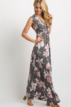 deca009f3c7 Charcoal Grey Floral Sleeveless Knot Front Maxi Dress