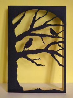 Unique Wall Decor, Diy Wall Decor, Paper Cutting, Metal Art, Wood Art, Black Tree, Paper Tree, Bird On Branch, 3d Painting