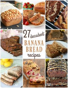 Banana Bread Recipes - Next time you end up with a few over-ripe bananas, make one of these yummy banana breads!
