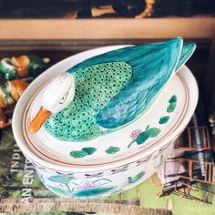 Vintage Green Duck Lidded Tureen