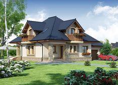 Projekt domu Damokles 140,59 m² - koszt budowy - EXTRADOM Beautiful House Plans, Beautiful Homes, Rooftop Garden, Good House, Home Fashion, Log Homes, Modern House Design, Home Builders, Home Projects