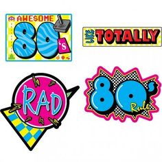 Awesome 80's Cutouts - Pack of 4 - 80's Party Decoration Ideas
