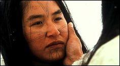 "Authentic style facial tattoos on Sylvia Ivalu (playing ""Atuat"") from the Inuit-produced film Atanarjuat (The Fast Runner)   ----- Sylvia Ivalu is gorgeous!"