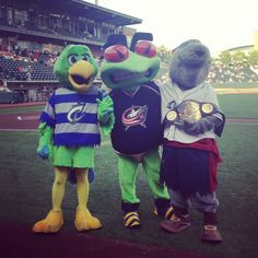Stinger with his Columbus Clippers mascot friends! #CBJ