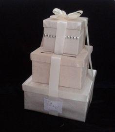 Ca_114 Caja para Sobres #bodas o #15años Ivory Plateada.Personalizada