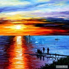 FISHING+WITH+FRIENDS+—+PALETTE+KNIFE+Oil+Painting+On+Canvas+By+Leonid+Afremov+studio