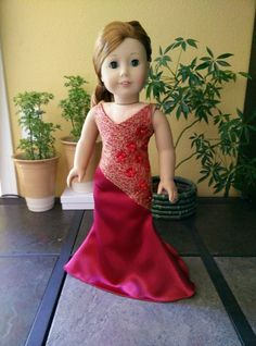 American Girl Dolls : Beautiful Red Evening Dress for American Girl Doll. American Girl Crafts, American Doll Clothes, Ag Doll Clothes, Doll Clothes Patterns, American Girls, Sewing Patterns, Pixie, Gowns For Girls, Girl Costumes