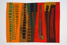 """CONSTRUCTIONS #27 1999©NANCY CROW 54.5"""" tall x 73.5"""" wide 100% cottons hand-dyed by NANCY CROW Machine-pieced improvisationally by Nancy Crow Hand-quilted       I made parts of this composition in 1997 and in 1998 and then put it together in September 1999. After hand dyeing all the colors, I machine pieced improvisationally structures based on my keen observation of the 2 story wood ladders in the 1850 timber frame barn on our farm. It attests to my love of line, shape, drawing, and the…"""