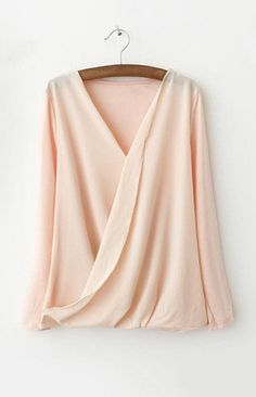 V-Neck Crossed Blouse. Cross front tops play up my large chest while covering it without losing my small waist.