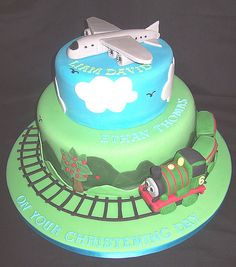 Trains  Planes Cake, could change bottom to plane and add a third layer for scuba
