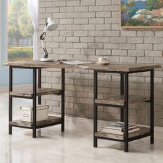 Bring+ideal+casual+style+to+your+home+with+this+Skelton+Home+Office+Collection+by+Coaster+Furniture.+It+features+industrial+style+collection+in+salvaged+cabin+with+metal+finished+in+black.+The+Desk+features+two+tiers+of+open+shelving+on+either+side.+Enjoy+your+room+with+this+Skelton+Home+Office+Collection.