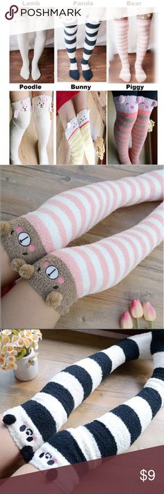 1 Pair of Cute Micro Fiber Animal Knee High Socks This listing is for 1 Pair of Cute & Playful Micro Fiber Animal Knee High Socks. These socks are a cute and playful addition to your wardrobe. Available in Lamb, Panda, Bear, Poodle, Bunny and Piggy. These socks do not come with any kind of packaging, I buy them bulk so they will be shipped loose. You will be able to select the style you would like once you click on Buy Now. Please add to bundle if you would like more than 1 pair. Accessories…