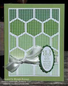 St Patricks Day card using the Six Sided Sampler stamp set and Hexagon Punch.  Stampin' Up! colors used to create the ombre technique:  Pistachio Pudding, Pear Pizzazz, Wild Wasabi, Gumball Green, Garden Green.