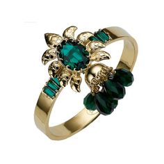 Mawi Emerald Flower Cuff (8.620 ARS) ❤ liked on Polyvore featuring jewelry, bracelets, accessories, emerald jewellery, emerald bangle, cuff jewelry, flower bangle and emerald jewelry
