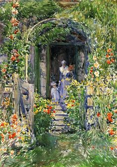 Frederick Childe Hassam >> Isles of Shoals Garden (aka The Garden in Its Glory)  |  (Watercolor, artwork, reproduction, copy, painting).