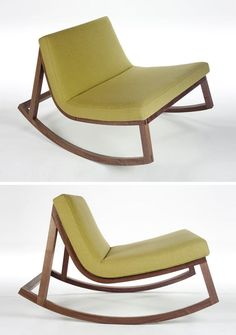 Furniture Ideas - 14 Awesome Modern Rocking Chair Designs For Your Home | This armless rocking chair with a wood base and an extra wide seat lets you really relax in style.