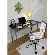 @Overstock - Use this desk for your computer work or as a drafting table. With its metal frame and tempered glass top, it is sure to be sturdy enough for any work that you do on it.http://www.overstock.com/Home-Garden/Exponent-Purple-Office-Desk-Drafting-Table/6383066/product.html?CID=214117 $106.16