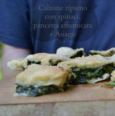 #recipe stuffed pizza with spinach, Asiago cheese and bacon