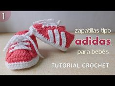 Zapatillas Adidas a crochet para bebé (Parte 1 de 2). Link download: http://www.getlinkyoutube.com/watch?v=bGEfPUxezsQ