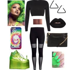 ALIEN GREEN by xbabyxdesx on Polyvore featuring polyvore fashion style River Island Y.R.U. MICHAEL Michael Kors Marc by Marc Jacobs Lime Crime