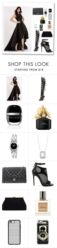 """Color contrast is important"" by mehrak ❤ liked on Polyvore featuring Alyce Paris, Sophia Webster, Marc Jacobs, Movado, Chanel, Casadei, Eight & Bob and Casetify"