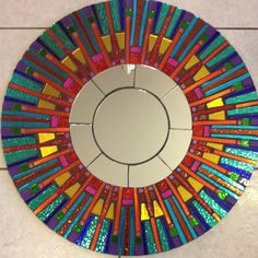 Colorful Fiesta Stained Glass Round Mosaic Mirror