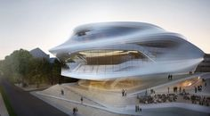 Zaha Hadid has submitted a design of sinuous translucence. Expanding like a mouth, the structure's Rhine-side glazed façade reveals the grand staircase tha