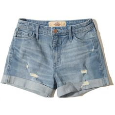 Hollister High-Rise Denim Boyfriend Shorts ($50) ❤ liked on Polyvore featuring shorts, ripped light wash, high waisted ripped shorts, frayed denim shorts, high rise denim shorts, high-waisted denim shorts and ripped shorts