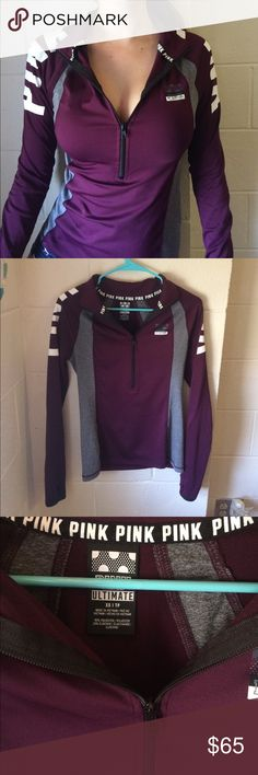 VS PINK ULTIMATE DEEP NECK HALF ZIP UP XS RARE VS PINK burgundy ultimate deep neck gorgeous zip up. Size xs. Rare isnt sold in stores or online anymore. Very flattering fit. Worn only a few times great condition PINK Victoria's Secret Tops Sweatshirts & Hoodies