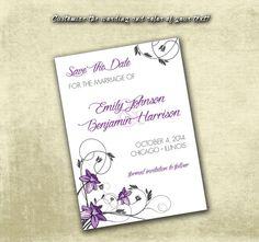 DIY Printable Wedding Save The Date PDF - Elegant Purple Daffodils Floral Pattern on Etsy, $12.00