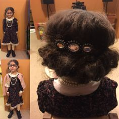 100th day of school idea. She already had the dress and the sweater just added some lace to the bottom of dress brought some pearls from Michaels her Gma have her the glasses we took out the lenses added some pearls on the corners and some knee hi she wore cream color leggings. Now for the hair used lots of Bobbie pins I put some baby powder to give the effects of gray hair puffed up her hair and rolled it up finished with a barrette in the back and hairspray. Makeup just used some more baby…