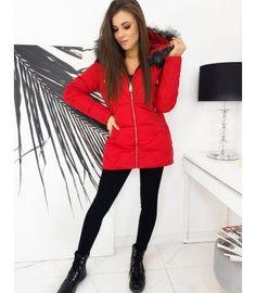 Červená prešívaná bunda Eric Red Leather, Leather Jacket, Winter Jackets, Fashion, Studded Leather Jacket, Winter Coats, Moda, Leather Jackets, Winter Vest Outfits