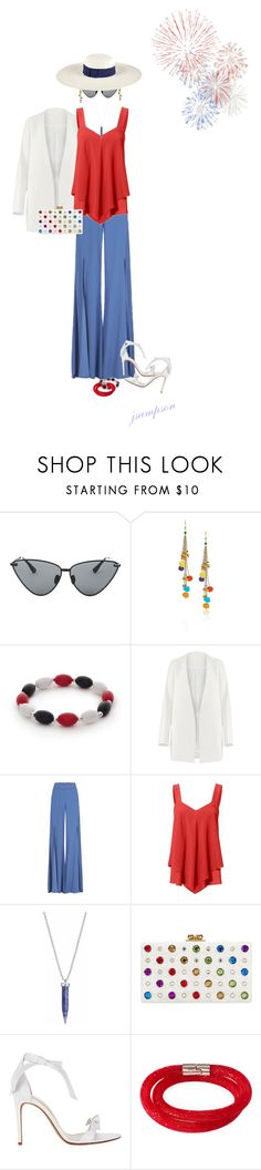 """""""....Party at The Water Club, NYC"""" by shadedlady ❤ liked on Polyvore featuring Le Specs Luxe, Rosantica, Kim Rogers, Non, Edie Parker, Alexandre Birman, Swarovski and San Diego Hat Co."""