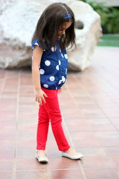 Dots + red jeans for little girls