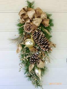 Elegant Christmas Door Swag  Taupe and by JulieButlerCreations