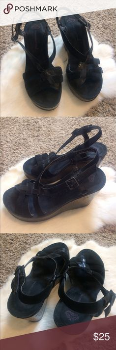 Black Wedges Cute and comfortable black wedged sandals! Great condition except for minor marks which you can see in photo. Could just take a black sharpy to these though and good as new! Bundle and save or offers welcome! Fornarina Shoes Wedges