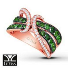 Le Vian Green & White Diamon with Rose Gold Ring