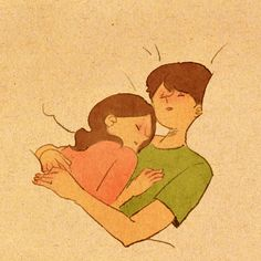 I work to find hidden meanings in these daily lives and translate them into illustrations and animations. Love Cartoon Couple, Cute Couple Comics, Couples Comics, Cute Couple Art, Cute Couples, Cute Couple Sleeping, Puuung Love Is, Cute Love Gif, Cute Love Cartoons