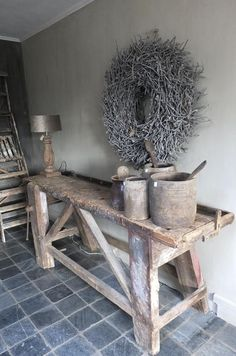 Table idea- drawers at either end and shelf on bottom with cool basket or crate Rustic Design, Rustic Decor, Rustic Charm, Interior Decorating, Interior Design, Rustic Interiors, Decoration, Home And Living, Interior Inspiration