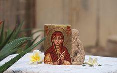 Amazon.com: Made to order- Saint Penelope religious hand painted mini icon eggtempera on wood: Handmade