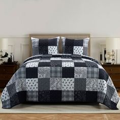 Donna Sharp Twin Set, London - American Heritage Textiles exquisite, reversible quilted bedding set features two highly-detailed patterns in one quilt. Plaid, paisley, floral and geometric motifs are arranged in a crosshatch and grid layout.
