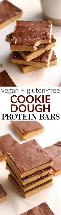The BEST no-bake homemade Cookie Dough Protein Bars that taste just like a real cookie! Made with whole grain oat flour, cashew butter, and vanilla plant protein with a silky smooth chocolate coating. Vegan and gluten-free.