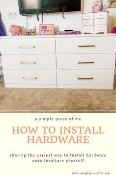 Install hardware with no worries! Im sharing with you on how to install hardware with easy tips! Visit www.asimplepieceofme.com. #DIY #DIYhomeprojects #hardware #homeprojects