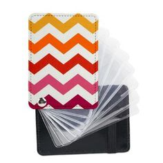 Warm Chevron Print Leather Card Holder