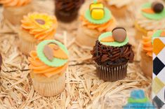Autumn themed cupcakes at a Thanksgiving  party!  See more party planning ideas at CatchMyParty.com!
