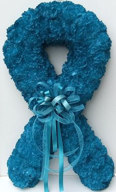 "Ovarian Cancer Awareness ""Ribbon"" Wreath. A portion of the purchase benefits T.E.A.L., Tell Every Amazing Lady about Ovarian Cancer."